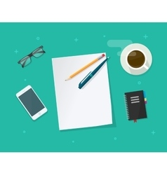 Paper sheet with pencil pen on workdesk vector image vector image