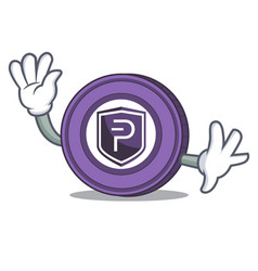waving pivx coin character cartoon vector image