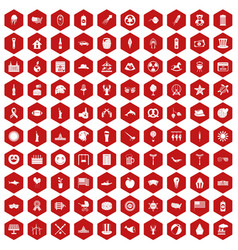 100 summer holidays icons hexagon red vector image