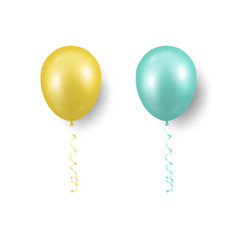 3d realistic yellow turquoise balloon vector image