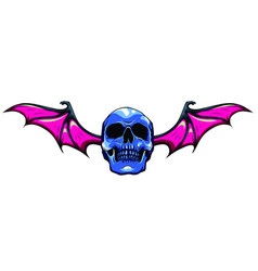 a winged skull bat or dragon wings in a vintage vector image