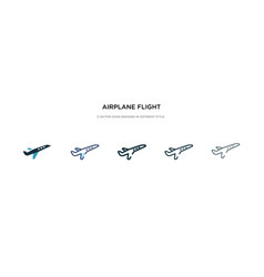Airplane flight icon in different style two vector