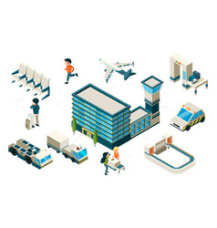 airport concept isometric plane building vector image