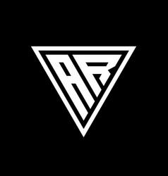 Ar logo monogram with triangle shape designs vector