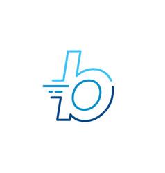 B letter dash lowercase tech digital fast quick vector