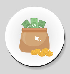 Bag of money and coins sticker icon flat style vector