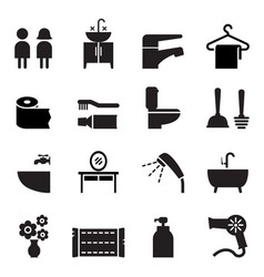 bathroom restroom toilet icon set vector image
