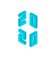 blue 2020 numbers isometric object vector image