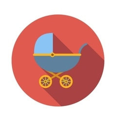 Blue baby carriage icon flat style vector