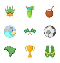 Brazilian traditional symbol icons set vector
