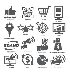business management icons marketing and cost vector image
