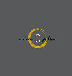 c letter logo design with gold rounded texture vector image