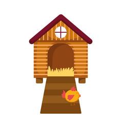 Chicken in wooden house farm animal cartoon vector
