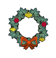 Christmas wreath garland with christmas design vector