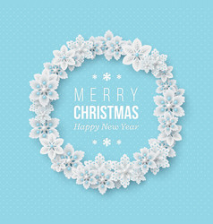 christmas wreath with 3d decorative snowflakes vector image