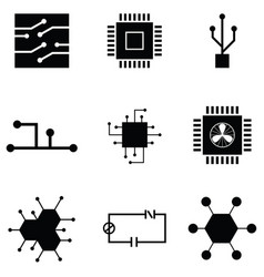 Circuit board icon set vector