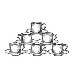 coffee cup pyramid tower engraving vector image