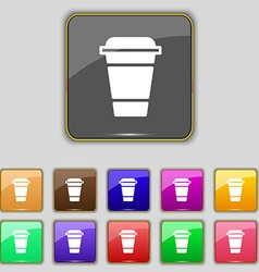 Coffee icon sign Set with eleven colored buttons vector