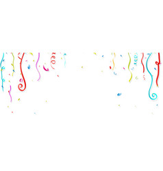 Colorful confetti and streamer on white background vector