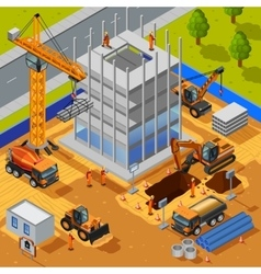 Construction Of Multistory Building Isometric vector
