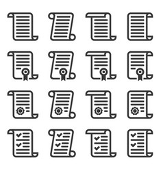 contract icons set on white background vector image