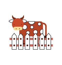 Cow farm in fence vector