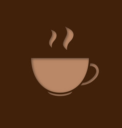 cup with hot drink paper cut out icon vector image