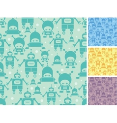 Cute cartoon robots seamless pattern background vector image