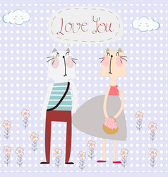 cute cat couple in polka dot background vector image