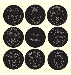 cute faces abstract avatar set funny humor vector image