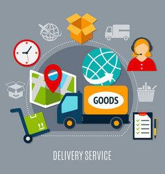 delivery service flat composition vector image
