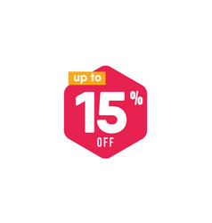 Discount up to 15 off label template design vector