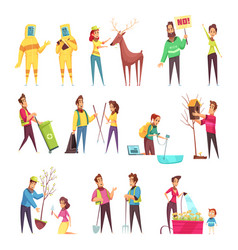 eco volunteering cartoon set vector image