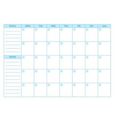 Empty planner scheduler agenda or diary template vector