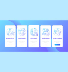 Exercises dark blue onboarding mobile app page vector