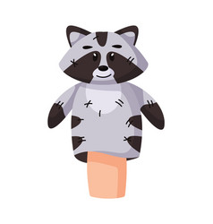 Fairytale raccoon hand puppet show personage vector