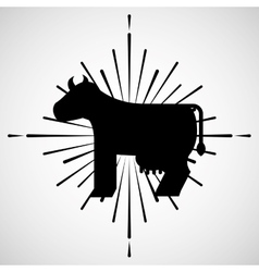 Farm fresh cow icon vector