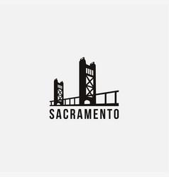 flat minimalist sacramento bridge bridge logo vector image