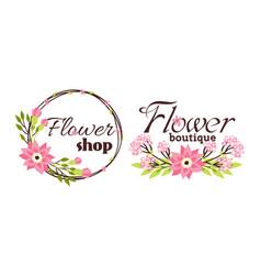 Floral shop badge decorative frame template vector