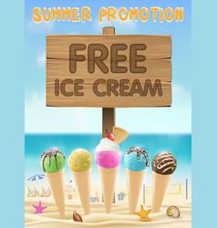 free ice cream wood board sign on sea sand beach vector image