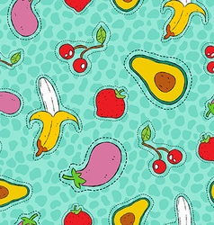 Fruit and vegetable hand drawn patch icon pattern vector image