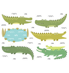 funny crocodiles collection cute alligators in vector image