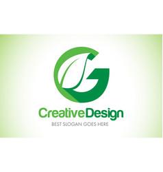 G green leaf letter design logo eco bio leaf vector