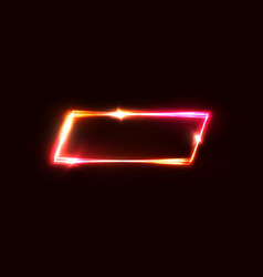 geometric neon sign on red dark background vector image