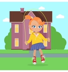 Girl jumping on rope vector