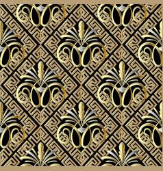 Greek vintage floral 3d seamless pattern vector