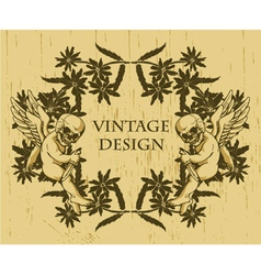 grunge floral frame with angels vector image vector image