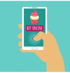 Hand holding smartphone with buy online Internet vector image