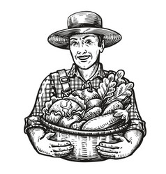 happy farmer holds a wicker basket full of fresh vector image