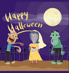 Happy halloween poster with zombies in cemetery vector
